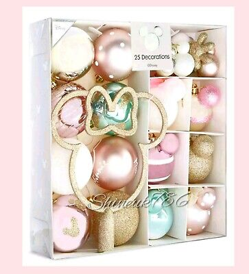 PRIMARK Disney Minnie Mouse pack of 25 baubles Christmas Decorations Gift boxed ()