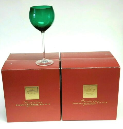 LENOX Holiday Gems Emerald Balloons Goblets Set of 4 (2 boxes for 8 total) NIB
