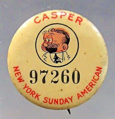 1930's Jimmy Murphy's CASPER N.Y. Sunday American comic pinback button ^