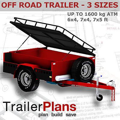 Trailer Plans - OFF ROAD CAMPER TRAILER PLANS - 3 sizes included - PLANS ON USB