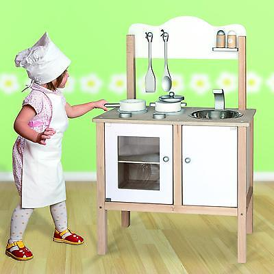 Childrens Kids Wooden Pretend Play-Kitchen Toy Play-Set Oven,Sink,Hob,Pans