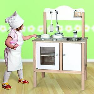 Childrens Kids Wooden Pretend Play-Kitchen Toy Play-Set Oven,Sink,Hob,Pans