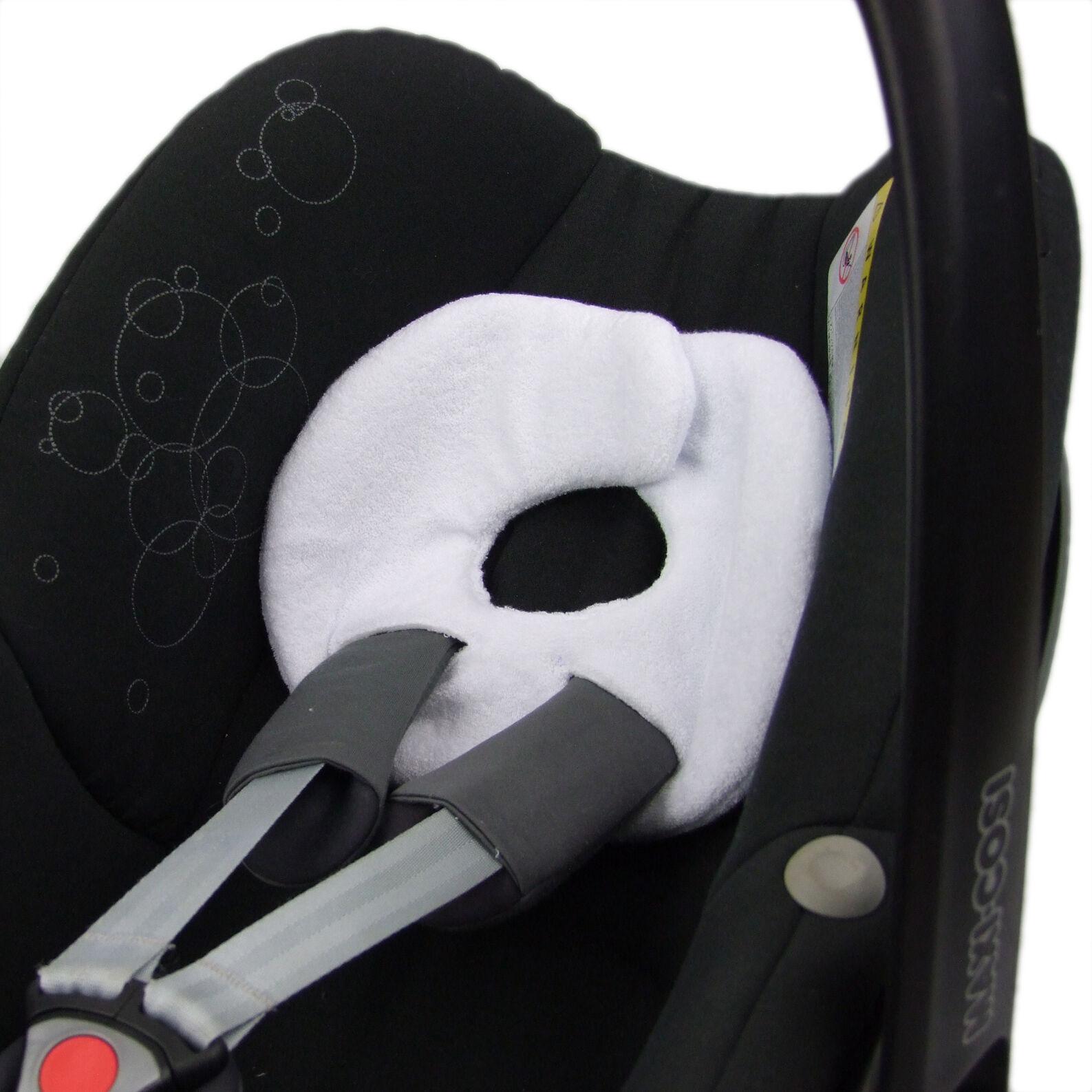BAMBINIWELT Kopfstütze Kopfpolster für Babyschale MAXI-COSI Pebble, Pebble Plus 9. Frottee Weiß