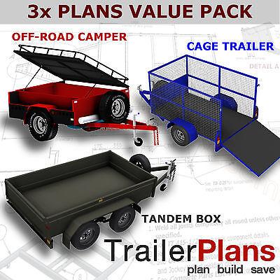 Trailer Plans - OFF ROAD CAMPER,TANDEM BOX & CAGE TRAILER PLANS -Plans on USB