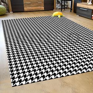 tappeto moderno - pied de poule bianco nero gommato antiscivolo