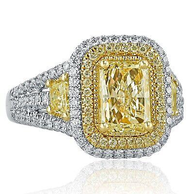 GIA Certified 2.65 Ct Yellow Radiant Cut Diamond Engagement Ring 18k White Gold