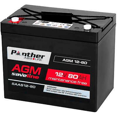 Panther AGM Akku 80Ah 12V Zyklen Bleiakku Batterie Solar USV Blei-Gel 85Ah 77Ah