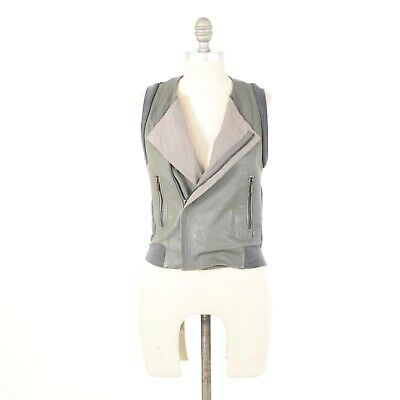 BCBG Max Azria Vest Jacket XS Gray Leather Moto Wool Sleeveless Sweater Vest