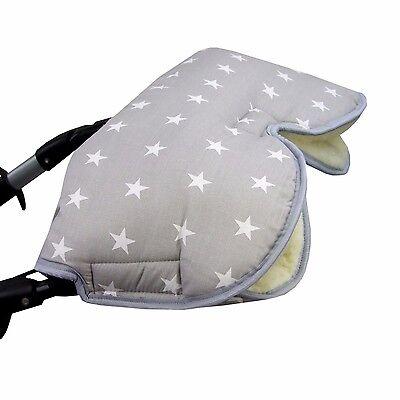 HANDMUFF MUFF Handwärmer Handschuh für Kinderwagen mit LAMMWOLLE GRAU W. STERNE