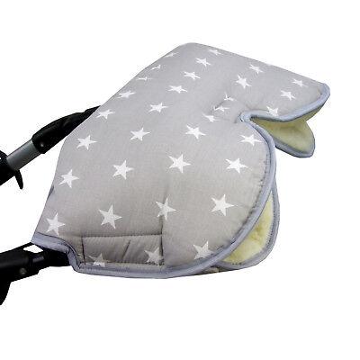 BAMBINIWELT Kinderwagen MUFF Kinderwagenhandschuh Handwärmer GRAU WEISSE - Weiße Handschuhe Kleinkind