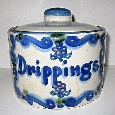 M A Hadley Stoneware Pottery Bluette Collection Drippings Crock Jar Canister Box