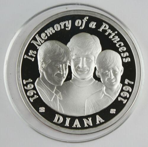 Zambia 1997 5 Oz Silver 2500 Kwacha Proof Coin Princess Diana & Sons GEM