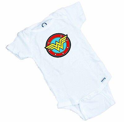 Wonder Woman Logo Funny Onesie. Great Shower Gift. Funny Shower Gift Romper