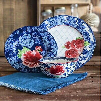 - The Pioneer Woman Heritage Floral 12-Piece Dinnerware Set Blue Dishwasher Safe