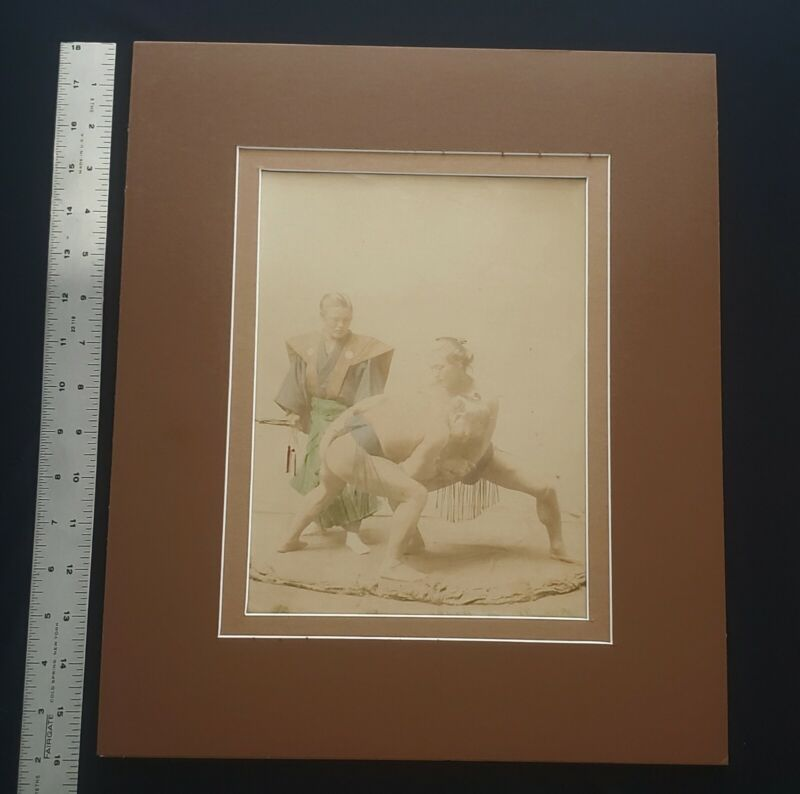 Japanese Suma Wrestlers, 19th Century , Hand Tinted Albumen Photograph, 1880/90s