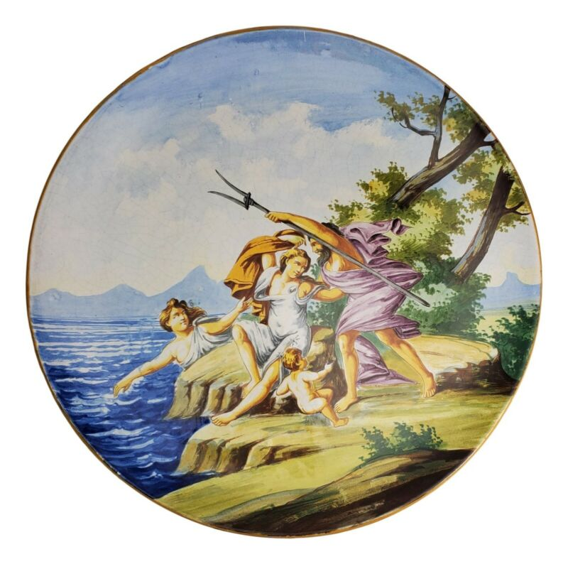 Italian Majolica Charger Marriage of Poseidon Amphitrite Antique