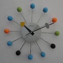 George Nelson MCM Mid Century Modern Wood Ball Wall Clock Kirch Made in Taiwan