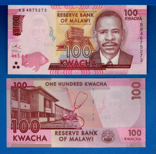 Malawi P-65c 100 Kwacha Year 2016 Fish Uncirculated Banknotes Africa