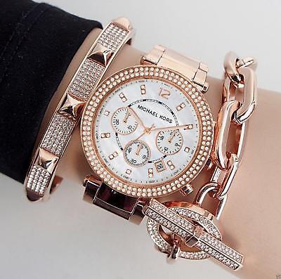 Original Michael Kors Uhr Damenuhr MK5491 Parker Farbe:Rose Gold Strass NEU online kaufen