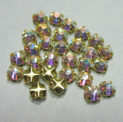 Preciosa Czech Rose Montees 5mm SS20 GP Gold Plated AB Crystal 25 Beads