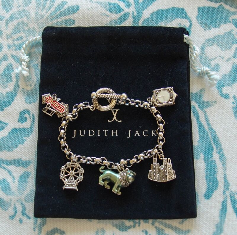 Vintage Judith Jack Sterling Marcasite Enamel CHICAGO Charm Bracelet