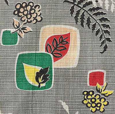1940/50s VINTAGE COTTON BARKCLOTH FABRIC FAB MID-CENTURY MODERN/ATOMIC DESIGN