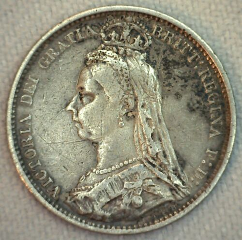 1889 Great Britain Silver 6 Pence Coin VF Very Fine UK Sixpence
