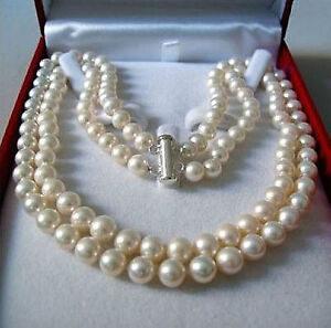 Rare!2 Rows 8-9 MM AKOYA SALTWATER PEARL NECKLACE