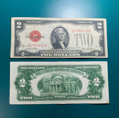 1928 G $2 Two Dollar Red Seal Legal Tender Note Old Currency Circulated FR#1508