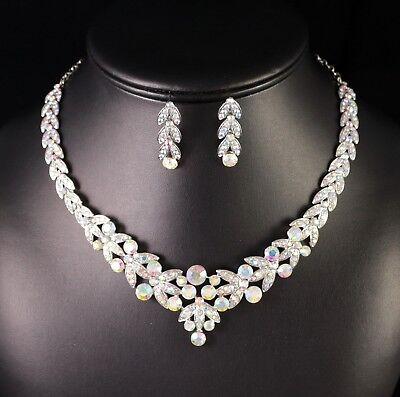 (Floral AB Clear Rhinestone Crystal Necklace Earrings Set Bridal Prom Wed N20AB)