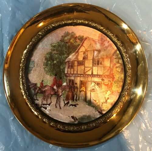 Fox Hunt Hunting Brass and Foil Wall Hanging Plate #3