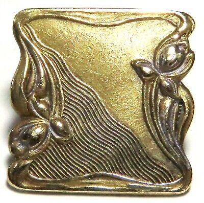 Art Nouveau Lustre glass button antique pressed with gold lustre trim c1890-1910. floral centre 1 hole metal shank Blue glass