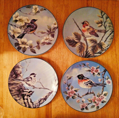 Vintage Plates - Set of 4 Plates - Hand Painted Birds