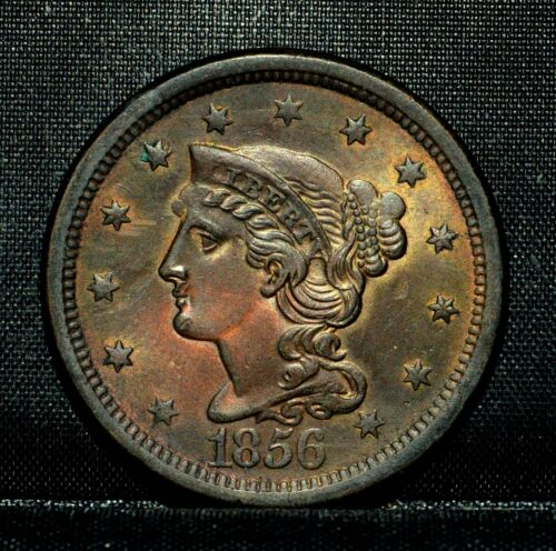 1856 BRAIDED HAIR LARGE CENT ✪ UNC DETAILS ✪ 1C UNCIRCULATED SLANTED 5 ◢TRUSTED◣