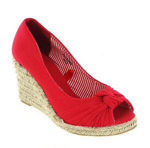 New Womens Canvas High Wedge Knotted Sandals Peep Toe Espadrilles UK Size 3-8