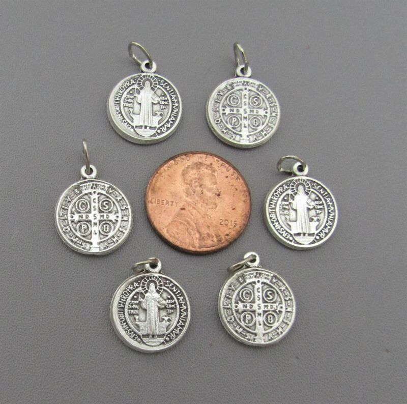 """6 pc Holy Medal Charms ITALY ~ St. Saint BENEDICT 1/2"""" SMALL M110 finish SILVER"""