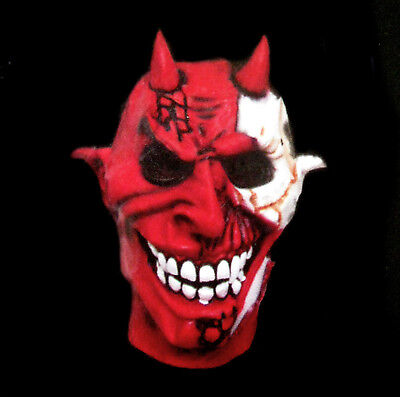 Red Horned Zombie Skull Devil Adult Rubber Halloween - Red Skull Halloween Mask