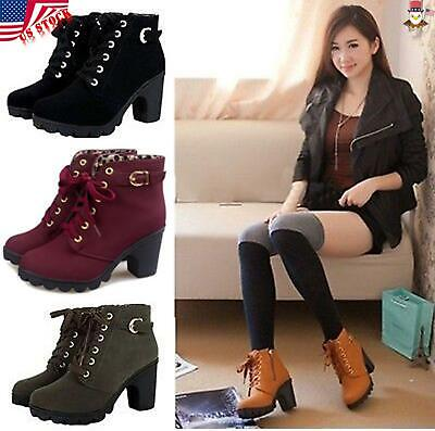 USA Womens Lady Ankle Boots Block Mid High Cuban Heel Lace Up Side Zip (Womens High Fashion)