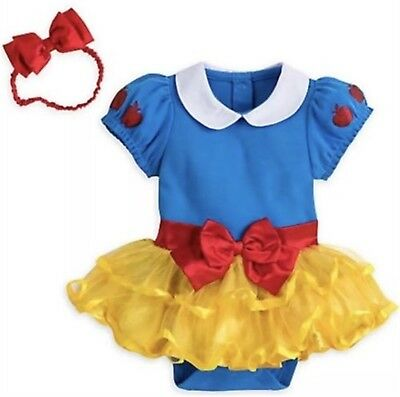 Disney Store Snow White Baby Bodysuit Costume Dress Headband Princess Halloween