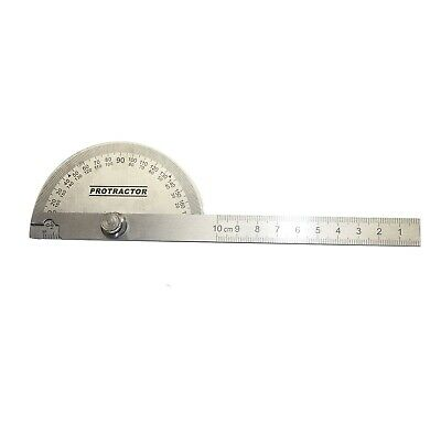 New Stainless Steel Rotary Protractor Angle Rule Gauge Machinist Tool