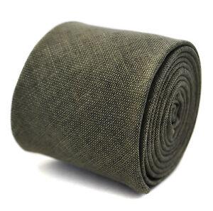 Frederick Thomas 100% linen khaki green coloured textured slim mens tie FT2041
