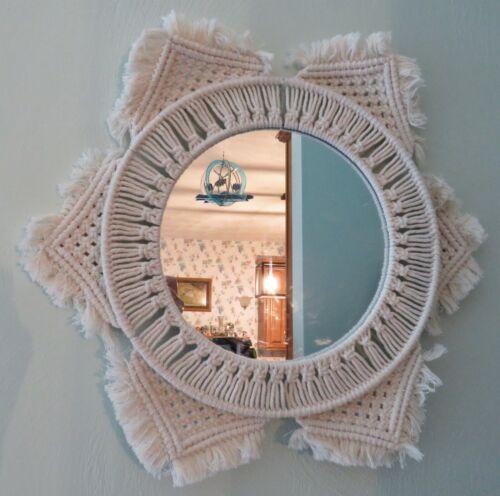 """Vtg Hand Made Knit / Needlework Yarn Frame & Round Mirror - 18"""" - Unique - EUC"""
