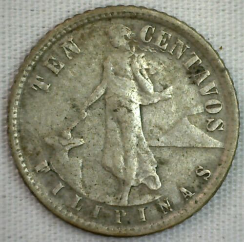1918 Philippines 10 Centavos Silver 10 Cents Coin Extra Fine XF Eagle Shield