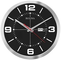 Bulova Calandar Silver Aluminum 14 Round Wall Clock