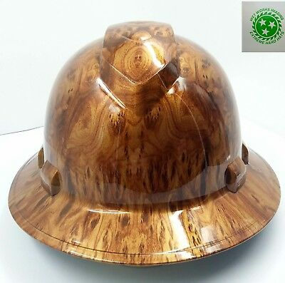 Full Brim Hard Hat Custom Hydro Dipped New Golden Burlwood New
