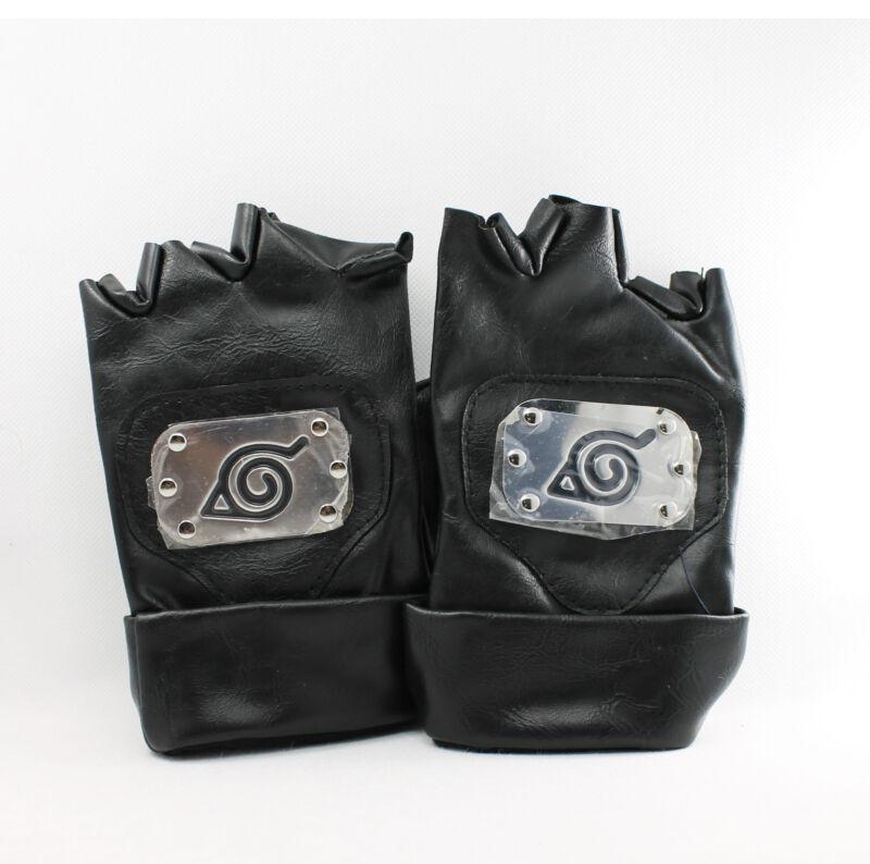 Naruto Kakashi Leaf Village PU Leather Ninja Gloves for Costume Cosplay (Black)