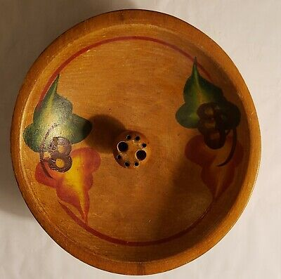 Mid-Century Hand Painted Wood Snack Bowl with Handle