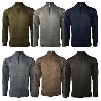 Mens Soft Half Zip Funnel Neck Pullover Jumper Sweater Long Sleeve Top S-XXL New