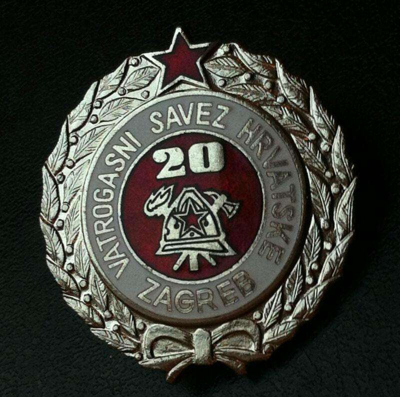 Croatia badge - 20 year service Firefighting - rarre medal Yugoslavia SFRJ !