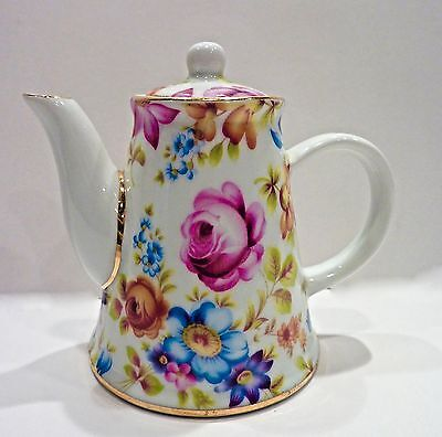 "Nantucket 4."" Miniature  Mini Porcelain Teapot With Lid, Rose Chintz Pattern"